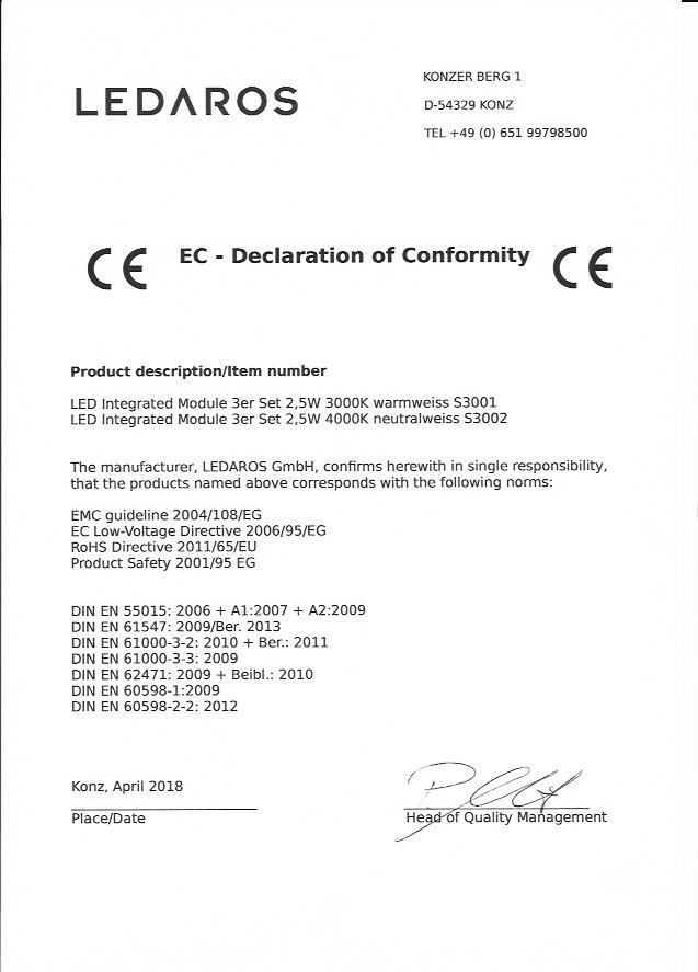 Acerolux Module Konformitätserklärung